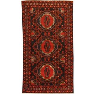 Herat Oriental Afghan Hand-knotted Tribal Balouchi Wool Rug (3'5 x 6'2)