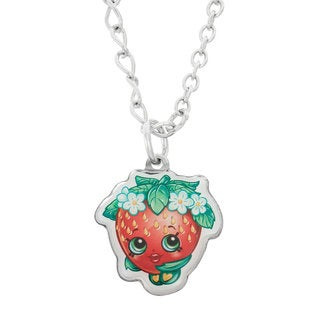 Shopkins Silver-tone 16-inch With 2-inch Extension Children's Printed Strawberry Kiss Pendant Necklace