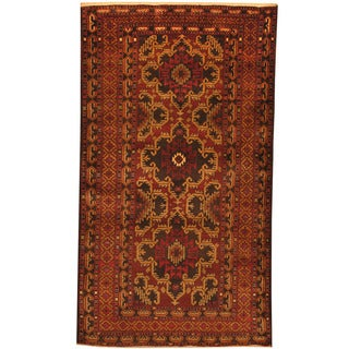 Herat Oriental Afghan Hand-knotted Tribal Balouchi Wool Rug (3'6 x 6'3)