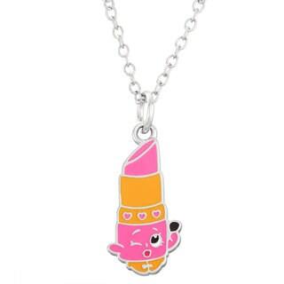 Shopkins Children's Silvertone 2-D Enamel Lippy Lips Pendant Necklace