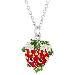 Shopkins Silver-tone Brass and Enamel Open-eye Children's Strawberry Kiss Pendant Necklace