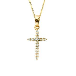 14k Yellow Gold Diamond Accent Cross Pendant (H-I, I1-I2)