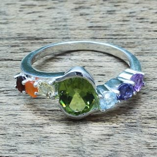 Handmade Sterling Silver 'Chakra Allure' Multi-gemstone Ring (India)