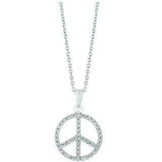 Sterling Silver Cubic Zirconia Small Peace Sign Pendant Necklace