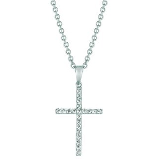 Sterling Silver and Cubic Zirconia Medium Cross Pendant Necklace