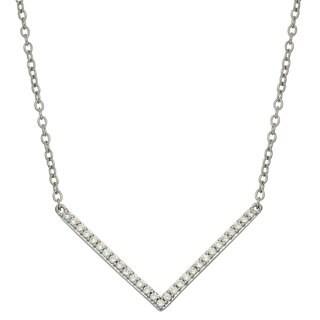 Sterling Silver Cubic Zirconia Chevron Pendant Necklace