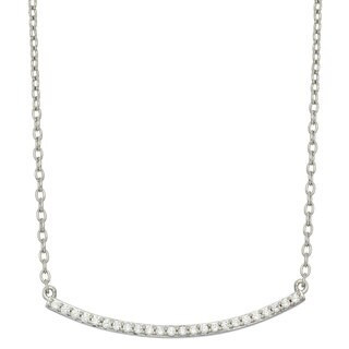 Sterling Silver Cubic Zirconia 18-inch Women's Curved Trapeze Necklace