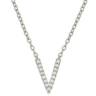 Sterling Silver Cubic Zirconia Small Chevron Necklace
