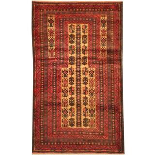 Herat Oriental Afghan Hand-knotted Tribal Balouchi Wool Rug (2'10 x 4'10)