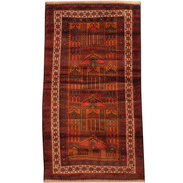 Handmade Herat Oriental Afghan Tribal Balouchi Wool Rug - 2'6 x 4'6 (Afghanistan)