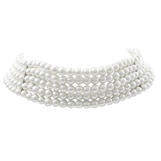 Luxiro Rhodium Finish 6-mm White Faux Pearl 5-strand Choker Necklace