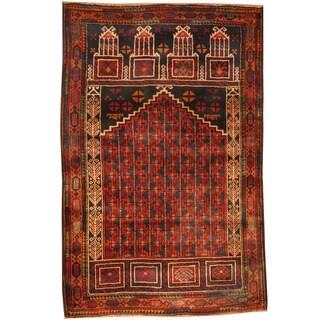 Herat Oriental Afghan Hand-knotted Tribal Balouchi Wool Rug (2'10 x 4'3)