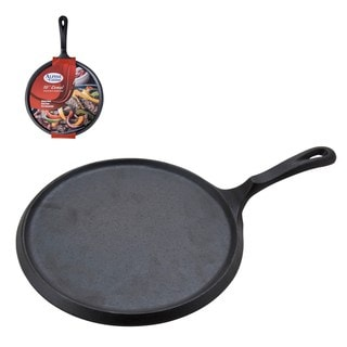 Alpine Cuisine Black Cast Iron 10-inch Comal Griddle