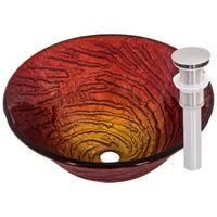 Novatto Misto Glass Vessel Bathroom Sink Set, Brushed Nickel