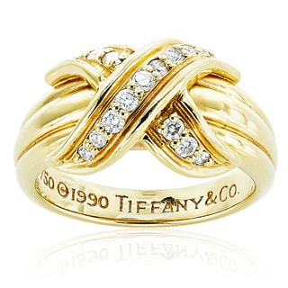 18K Yellow Gold 1/5t TDW Signature X Diamond Ring by Tiffany & Co. (H-I, VS1-VS2)