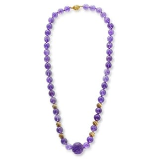14K Yellow Gold Amethyst Beads Necklace