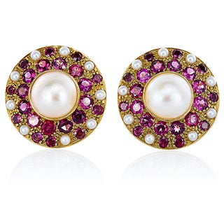 18K Yellow Gold Amethyst and Pearl Round Patterned Clip Earrings