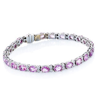 18k White Gold 1ct TDW White Diamond and Pink Sapphire Estate Line Bracelet (H-I, SI1-SI2)