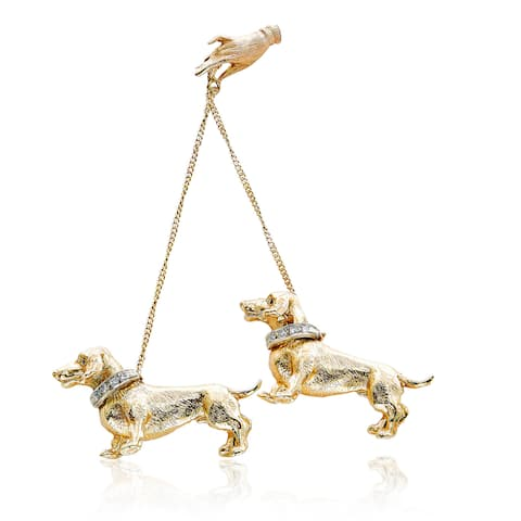 14K Yellow Gold 1/5ct TDW White Diamond Master and Dachshund Dog Chain Estate Brooch Set (I-J, SI1-SI2)