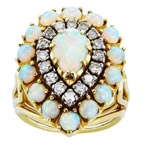 18K Yellow Gold 1/2ct TDW Pear Shape Clustered Opal Estate Ring (H-I, SI1-SI2)