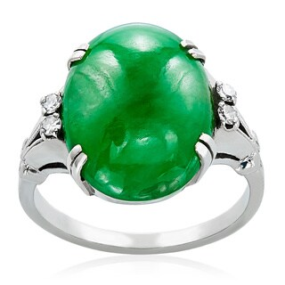 14k White Gold Natural Jade and 1/10ct TDW White Diamond Estate Ring Size 6 (H-I, SI1-SI2)