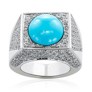 18k White Gold 2ct TDW Turquoise and Pave Diamonds 1970s Estate Ring (H-I, SI1-SI2)