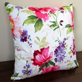 Artisan Pillows Indoor 20-inch Colorful Flowers in Watercolor Throw Pillow Cover