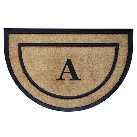 Shape Half Circle Black And Brown Coir Rubber Framed Doormat 2