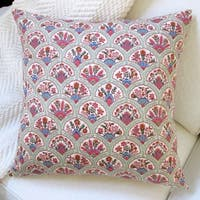 Artisan Pillows Multi-colored Cotton Indoor 20-inch Oriental Hand Fan Throw Pillow