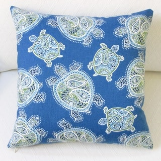 Artisan Pillows Indoor 18-inch Tranquil Sea Turtles in Blue Modern Coastal Beach House Cotton Throw Pillow Cover