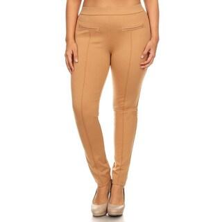Women's Khaki Nylon Blend Plus Size Slim Fit Leggings