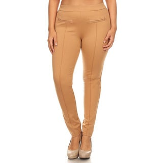 Women's Khaki Nylon Blend Plus Size Slim Fit Leggings