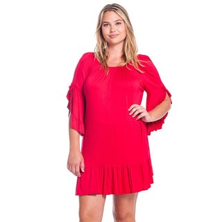 Women's Solid Rayon and Spandex Plus-size Flutter-sleeve Tunic