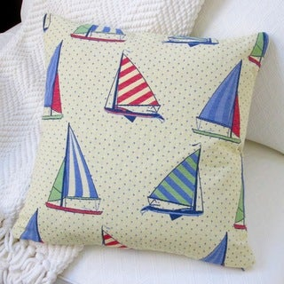 Artisan Pillows Indoor 18-inch Stroup Balboa Sail Boat Yellow Pillow Cover
