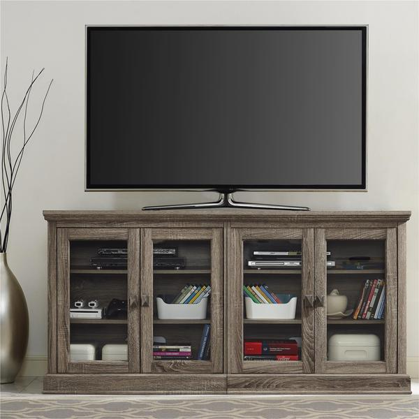 Altra Bennett 70 Inch Sonoma Oak Modern Farmhouse TV Stand With Glass Doors