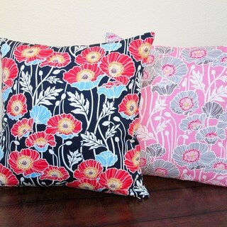 Artisan Pillows Pristine Poppy Pink or Midnight Blue 20-inch Indoor Throw Pillow Cover
