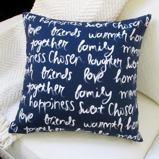 Artisan Pillows 'Love, Happiness, Laughter' Navy Blue Polyester 18-inch Indoor Throw Pillow
