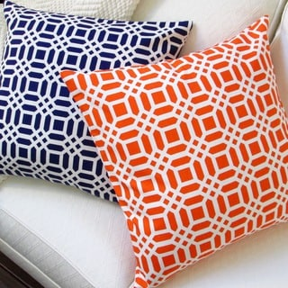 Artisan Pillows Navy Blue or Orange 20-inch Vivid Lattice Indoor Throw Pillow Cover