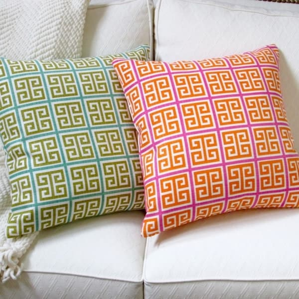 Artisan Pillows Indoor 18-inch Greek Key Green Blue Orange Pink Modern Geometric Throw Pillow Cover