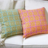 Multicolored Linen Greek Key 18-inch Geometric Throw Pillow