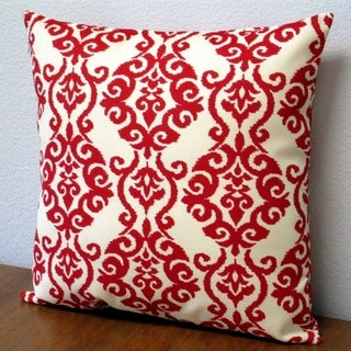 Artisan Pillows Red Polyester 18-inch x 18-inch Damask Jewel Pattern Outdoor Throw Pillow (Set of 2)