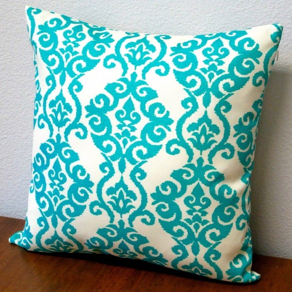 Modern Turquoise Pillows : Artisan Pillows Outdoor Damask Turquoise Modern Geometric 18-inch Throw Pillow Cover (Set of 2 ...