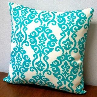 White/Turquoise Polyester Artisan 18-inch Damask Modern Geometric Throw Pillow (Set of 2)