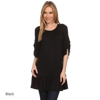 Women's Solid Ruffle Sleeve Top