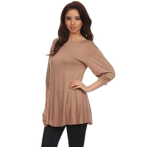 Women's Solid Rayon and Spandex Crewneck Tunic