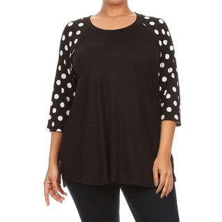 Women's Rayon and Spandex Polka-dot Long-sleeve Crewneck Plus-size Tunic
