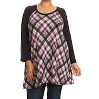 Women's Plus-size Plaid Rayon and Spandex Crew Neck Top