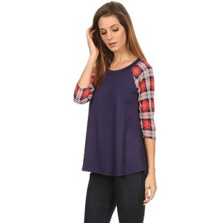 Women's Plaid Rayon and Spandex Crew Neck Top