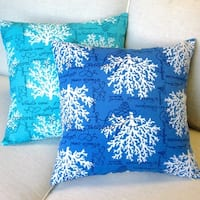 Artisan Pillows Sea Reef Blue/Turquoise Polyester 18-inch Throw Pillow Covers (Set of 2)
