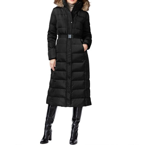 Michael by Michael Kors Women's Black Down/Polyester Belted Maxi Coat